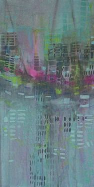 transient // Katharyna Ulriksen 2009 mixed media on canvas#painting #art #maps #cities #senseofplace #nonplace #travel #transit #temporary #locations