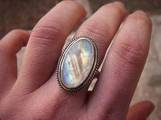 Big Rainbow Moonstone Ring Handmade Sterling Silver Jewelry Silverwork Big Gemstone Ring Hammered Band Size 8 Artisan Design Jewelry