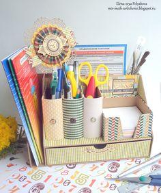 органайзер своими руками, скрапбукинг, карандашница, органайзер для школьной канцелярии