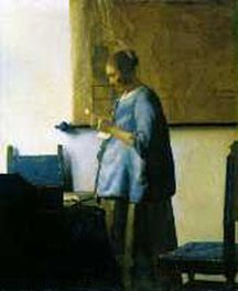 Woman Reading a Letter, Johannes Vermeer, c. 1663 - Johannes Vermeer - Artists - Explore the collection - Rijksmuseum Johannes Vermeer, Delft, Vermeer Paintings, Kunst Online, Dutch Golden Age, Getty Museum, Dutch Painters, Woman Reading, Dutch Artists
