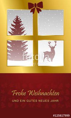 Vektor: Weihnachten - Grußkarte mit Rentier (in Rot)