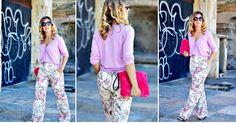 Combina unos pantalones de estampado floral en un look en tonos pastel