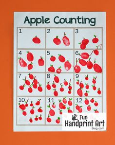 Free printable fingerprint apple counting sheet. Clever fingerprint art and counting activity in one!