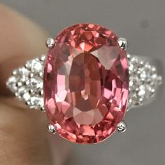 8.91 CT OVAL PADPARADSCHA SAPPHIRE SOLITAIRE STERLING SILVER 925 RING SIZE 6 US #Handmade #SolitairewithAccents