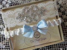 Ivory Lace & Satin Wedding Garter Set Rhinestone with Blue Bow