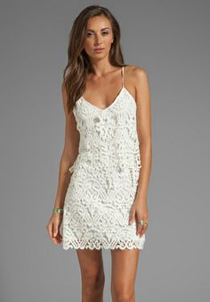 DOLCE VITA Jordinna Charleston Lace Spaghetti Strap Dress in Snow