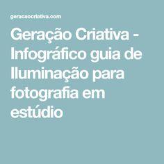 Geração Criativa - Infográfico guia de Iluminação para fotografia em estúdio