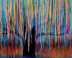 Weeping willow Painting -Furlow I can see this as melted crayon art Crayon Crafts, Crayon Art, Melted Crayon Canvas, Crayon Painting, Painting Tattoo, Pour Painting, Diy Crafts, Wax Crayons, Melting Crayons