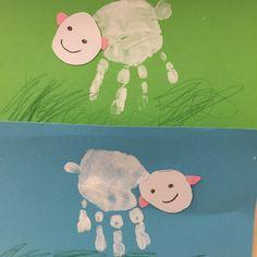 Schaf #Ostern Frühling Kids U3 Krippe Kita #Easter Sheep Spring Handabdruck Fingerfarbe kreativ basteln diy selfmade