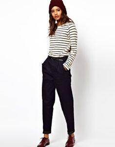 ASOS Relaxed Trouser In Indigo Tweed Denim