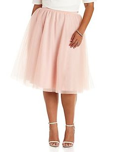 f7522b75093 Plus Size Tulle Full Midi Skirt Charlotte Russe Plus Size