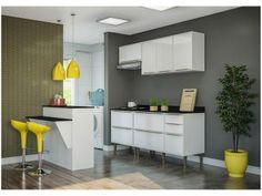 Cozinha Compacta Multimóveis Paris - com Balcão 8 Portas 4 Gavetas