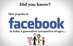 Did you know??? How popular is facebook in today's generation irrespective of ages... FACEBOOK- 1. 901 million monthly active users at the end of March 2012 2. Each user has around 130 Friends on an average 3. More than 50% of fb users log on to their profile everyday| 4. 150+ million users log in to their account via Mobile