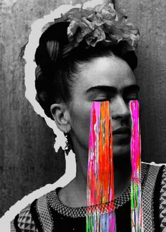 Love this contemporary art piece of Frida Khalo. Great neon colors in her tears. #contemporaryart #abstractart