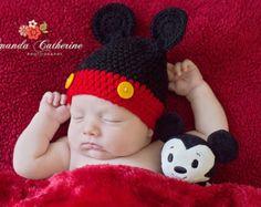 Baby Boy Crochet Mickey Mouse Beanie Hat SIZE por wadamska en Etsy