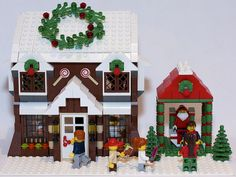 I wanted to expand on the Winter Village theme, so I built this Candy Shop to resemble a gingerbread house. Every purchase gets a child a picture with Santa Claus! Lego Christmas Village, Lego Winter Village, Lego Village, Christmas Fun, Lego Design, Casa Lego, Harry Potter Advent Calendar, Lego Worlds, Lego Friends