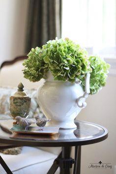 Artificial Floral Arrangements, Silk Flower Arrangements, French Country House, French Country Decorating, Green Hydrangea, Hydrangeas, Rustic Elegance, Pretty Flowers, Farmhouse Decor