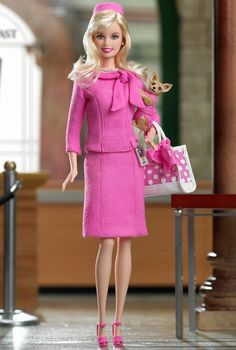 Barbie® Doll as Elle Woods from Legally Blonde 2: Red, White & Blonde - there is something daddaesque about Elle Woods dressing like barbie getting a barbie dressed like Elle, who dressed like barbie....UGH