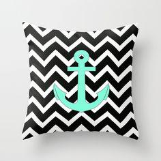 Tiffany Turquoise Anchor Black Chevron Pattern Throw Pillow
