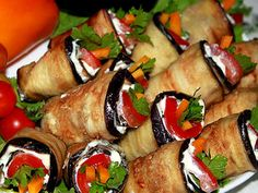"Rolled aubergine appetizer lovingly called ""Mother-in-law's tongue"" Баклажанная закуска «Тещин язык» 