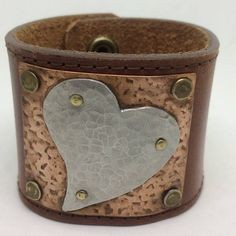 Brown Leather Cuff Bracelet for women with Silver heart