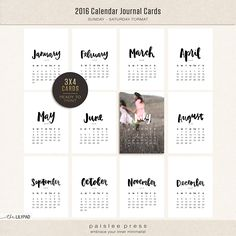 2016 Calendar Cards Collection