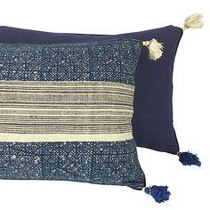 Indigo Batik Pillow with Handwoven Black and Natural Hemp Panel - Hmong fabric - Oblong Cushion with Tassels Black Pillows, Linen Pillows, Plain Canvas, African Home Decor, Handmade Cushions, Traditional Fabric, Batik Prints, Black Decor, Pillow Design