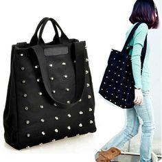 $9.24 (Buy here: https://alitems.com/g/1e8d114494ebda23ff8b16525dc3e8/?i=5&ulp=https%3A%2F%2Fwww.aliexpress.com%2Fitem%2FHigh-Quality-Fashion-Women-s-Punk-Style-Rivets-Canvas-Handbag-Tote-Shoulder-Bag-Black%2F1866270673.html ) Hot Sale Fashion Women's Punk Style Rivets Canvas Handbag Tote Shoulder Bag Black for Girls Women for just $9.24