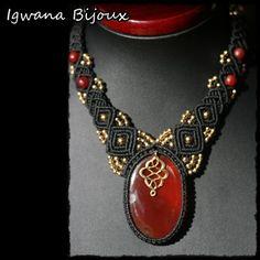 collier macramé cornaline par IgwanaBijoux sur Etsy