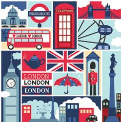 Benartex Britania England London Sights Multi