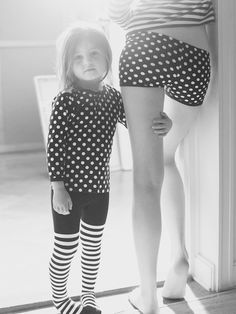 mom and daughter  + polka dots