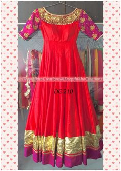 Red and pink anarkali