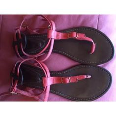 Pink Sandals Wear on the soles but LOTS of life left. please make an offer of you like them Shoes Sandals