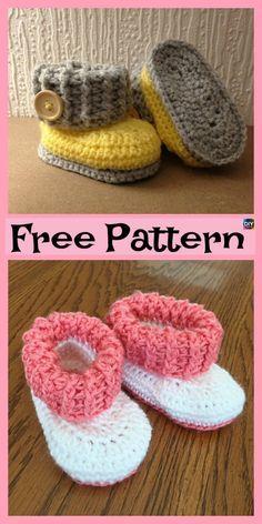 How to Crochet Cuffed Baby Booties - Crochet Ideas Crochet Baby Boots, Booties Crochet, Crochet Baby Clothes, Crochet Slippers, Baby Blanket Crochet, Baby Booties, Knit Crochet, Crochet Hats, Baby Shoes