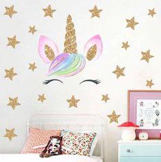 Muursticker unicorn - eenhoorn oogjes en sterren meisjeskamer / babykamer stickerkamer.nl Home Bedroom, Bedroom Decor, Kidsroom, Home Projects, New Homes, Eid, Jessie, Workouts, Home Decor
