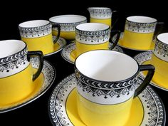 Art Deco Full Coffee Set, 1930s Black & Yellow 15 piece Demitasse Cup and Saucer Set Pearl Pattern Kirkland Pottery UK by keepsies on Etsy £39.95