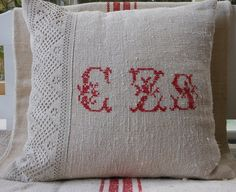 Natural linen pillow cover with monogram and antique lace