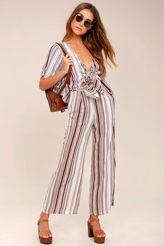 7c4c263ecd3 LOOKOUT WHITE AND GREY STRIPED TIE-BACK JUMPSUIT