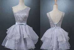 Stylish One Shoulder Short Grey Organza Homecoming Dress with Beading Bowknot Open Back,Short dress