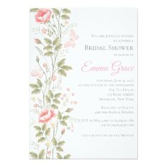 Elegant Floral Bridal Shower Invitation - floral bridal shower gifts wedding bride party