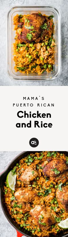 Mama's Puerto Rican Chicken and Rice also known as Arroz con Pollo. This one pan dinner is made with homemade adobo seasoned chicken and savory rice. You'll make this recipe again and again! #chickenrecipes #healthyrecipes #dinner #mealprep