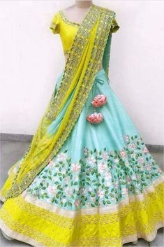 Half Saree Lehenga, Lehenga Saree Design, Lehnga Dress, Silk Lehenga, Lehenga Designs, Indian Lehenga, Yellow Lehenga, Bollywood Lehenga, Lehenga Choli Online