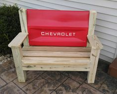 Chevrolet Tailgate Bench Chair by TailgateGuy on Etsy