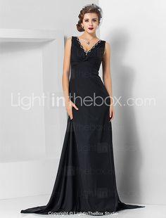 TS Couture® Formal Evening / Military Ball Dress - Elegant Plus Size / Petite Sheath / Column V-neck Watteau Train / Sweep / Brush Train Chiffon 2017 - $69.99