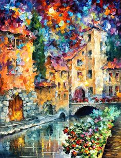 "THE WINDOW TO THE PAST   — PALETTE KNIFE Oil Painting On Canvas By Leonid Afremov - Size 54""X40"" custom made"