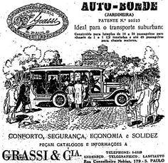Propaganda do Auto-Bonde Grassi nos anos 30. As jardineiras eram os principais meios de transporte público.