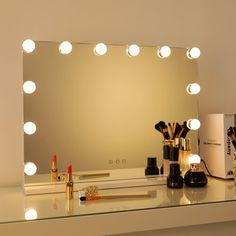 George Oliver Proto Vanity with Mirror & Reviews   Wayfair Lighted Vanity Mirror, Makeup Mirror With Lights, Vanity Set With Mirror, Dresser With Mirror, Mirrors, Hollywood Makeup, Hollywood Mirror, Vanity Stool, Wood Vanity
