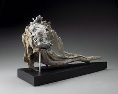 Raku clay, wood and metal by Marlene Kawalez titled: 'Flow (figurative Driftwood and ceramic Face sculpture/statue)'. Sculpture Art, Ceramic Sculptures, Find Objects, Wood Glass, Green Man, Male Face, Wood And Metal, Modern Contemporary, Sculpting