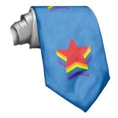 Rainbow pride stars custom tie