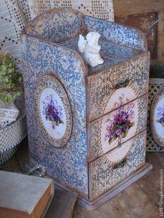 """Купить """" Les violettes"""" Комод и подсвечник. - фиолетовый, фиалки, комод, комодик для украшений"""